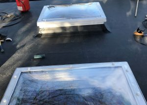 Flat roof rooflight - after fitting